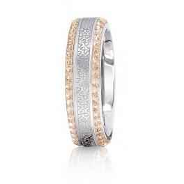 Infinity heart ring in Steel & Light Peach CZ